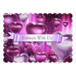 Scalloped Edges Pink Heart Customizable Invitation