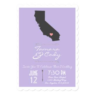 Scalloped Lavender California Wedding Invitation