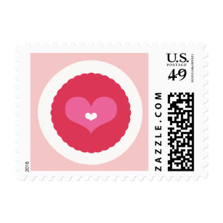 Scalloped Love Sweet Heart Valentine's Day Stamp