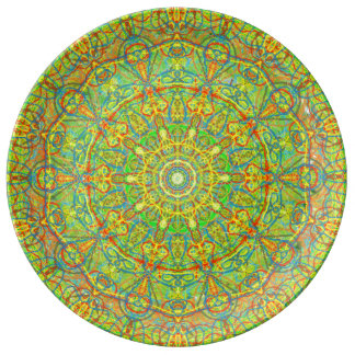 Scalloped Mandala kaleidoscope Seaside Abstract Dinner Plate
