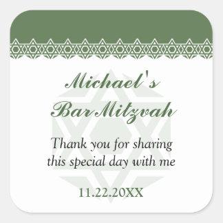 Scalloped Olive Star of David Bar-Bat Mitzvah Square Stickers