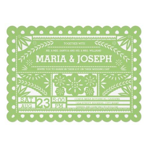 scalloped papel picado wedding invite green - Papel Picado Wedding Invitations