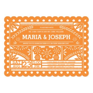 Scalloped Papel Picado Wedding Invite - Orange