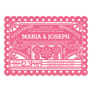 Scalloped Papel Picado Wedding Invite Pink