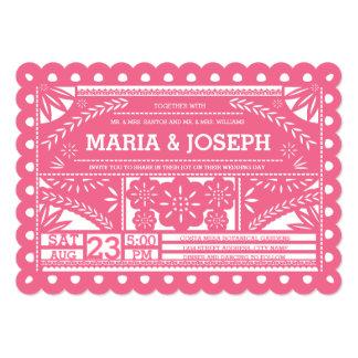 Delightful Scalloped Papel Picado Wedding Invite   Pink