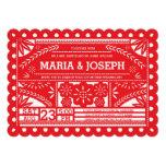 Scalloped Papel Picado Wedding Invite - Red