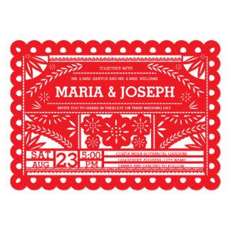 Scalloped Papel Picado Wedding Invite   Red