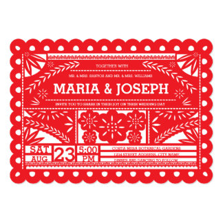 "Scalloped Papel Picado Wedding Invite - Red 5"" X 7"" Invitation Card"
