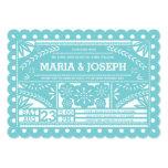 Scalloped Papel Picado Wedding Invite-Tiffany Blue 5x7 Paper Invitation Card