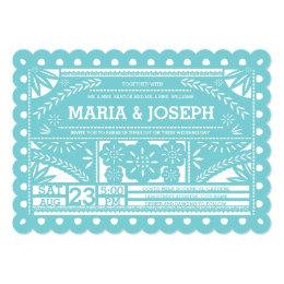Scalloped Papel Picado Wedding Invite-Tiffany Blue Card