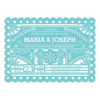 Scalloped Papel Picado Wedding Invite Tiffany Blue Card