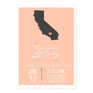 Scalloped Peach California Wedding Invitation