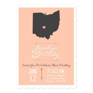 Scalloped Peach Ohio State Wedding Invitation