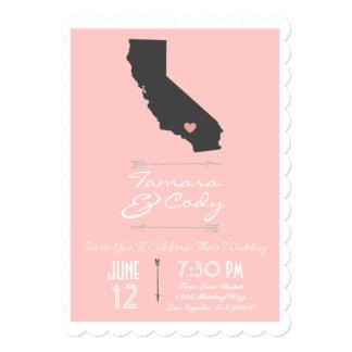 Scalloped Petal Pink California Wedding Invitation