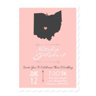 Scalloped Petal Pink Ohio State Wedding Invitation