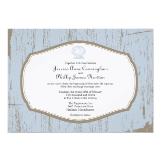 Scalloped Shell Rustic Beach Wedding Card