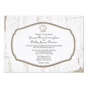 Scalloped Shell Rustic Beach Wedding Invitation
