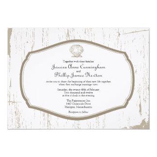Scalloped Shell Rustic Beach Wedding 5x7 Paper Invitation Card
