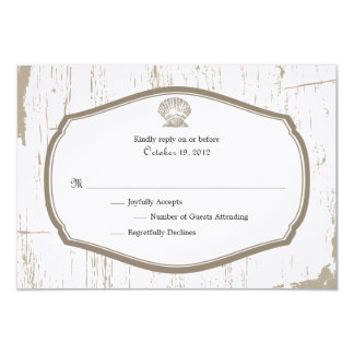Scalloped Shell Rustic Beach Wedding RSVP Card