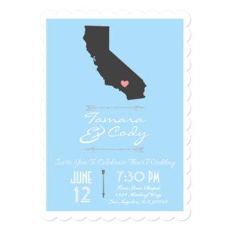 Scalloped Sky Blue California Wedding Invitation