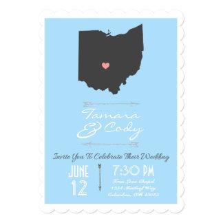 Scalloped Sky Blue Ohio State Wedding Invitation