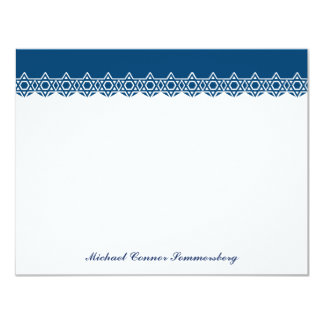 Scalloped Star of David Blue Thank You 4.25x5.5 Paper Invitation Card