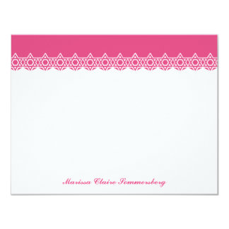 Scalloped Star of David Pink Thank You 4.25x5.5 Paper Invitation Card