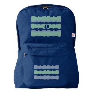 Scalloped Stripes Teal Green Blue Custom Monogram American Apparel™ Backpack
