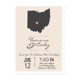 Scalloped Tan Beige Ohio State Wedding Invitation
