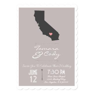 Scalloped Taupe California Wedding Invitation