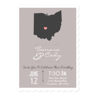 Scalloped Taupe Ohio State Wedding Invitation