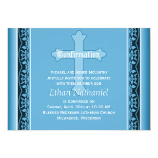 Scalloped Vines with Cross Blue Confirmation 5x7 Paper Invitation Card