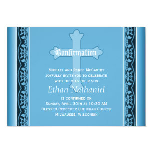 Scalloped Vines With Cross Blue Confirmation Invitation