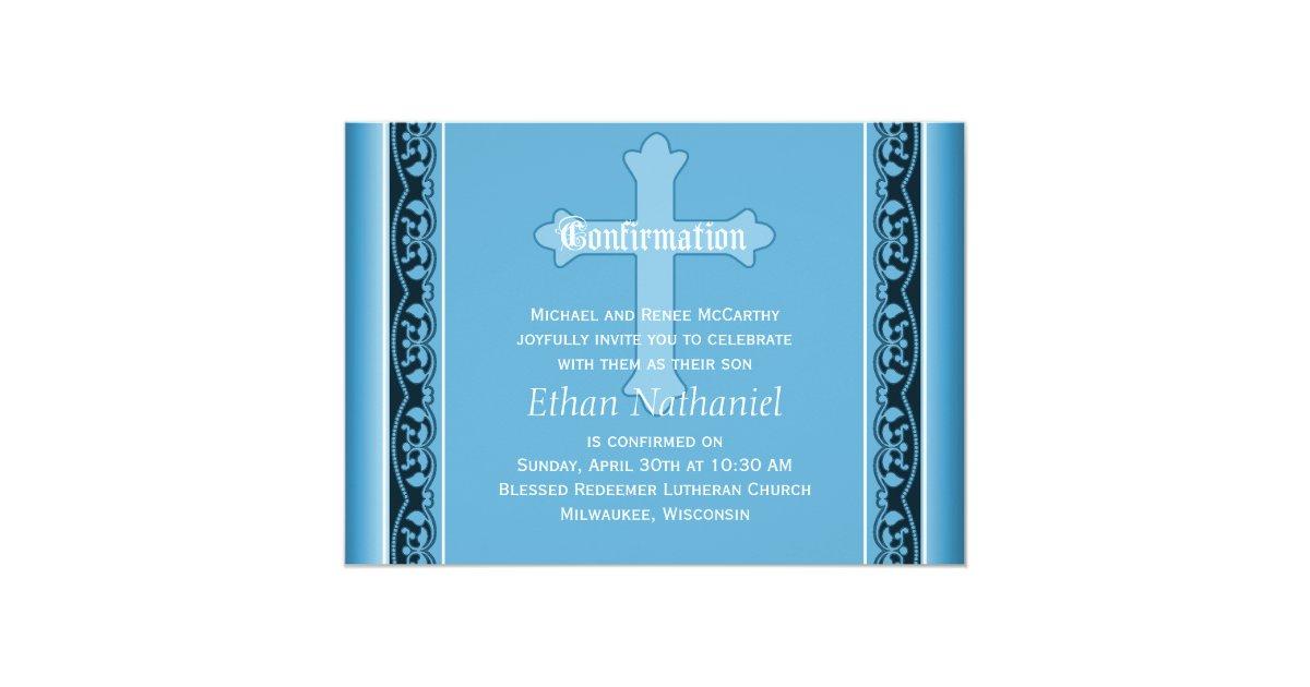 scalloped vines with cross blue confirmation invitation zazzle com