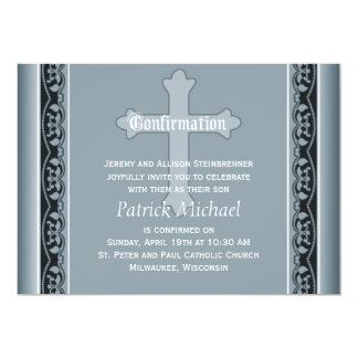 Scalloped Vines with Cross Elegant  Confirmation 5x7 Paper Invitation Card