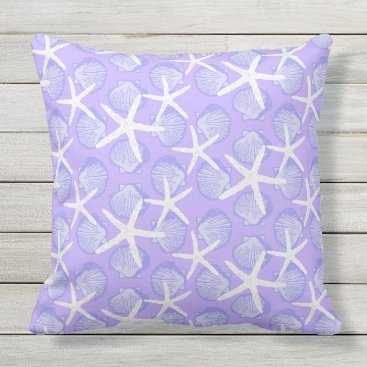 Beach Themed Scallops & Starfish in Purple & White Pattern Outdoor Pillow