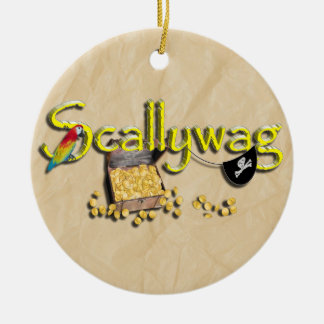 SCALLYWAG Text w/ Pirate Chest & Eye Patch Ceramic Ornament