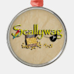 SCALLYWAG Text w/ Pirate Chest & Eye Patch Ornament