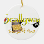 SCALLYWAG Text w/ Pirate Chest & Eye Patch Christmas Tree Ornament