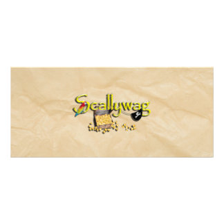 SCALLYWAG Text w/ Pirate Chest & Eye Patch Full Color Rack Card