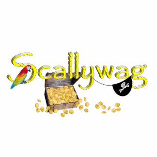 SCALLYWAG Text w/ Pirate Chest & Eye Patch Standing Photo Sculpture