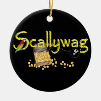 Scallywag Text  w/ Pirate's Chest & Parrot Double-Sided Ceramic Round Christmas Ornament