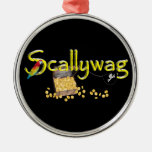 Scallywag Text  w/ Pirate's Chest & Parrot Christmas Ornaments