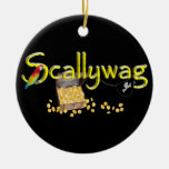 Scallywag Text  w/ Pirate's Chest & Parrot Christmas Tree Ornaments
