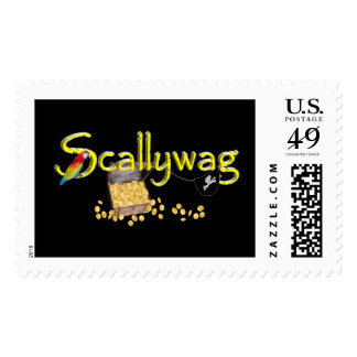 Scallywag Text  w/ Pirate's Chest & Parrot Postage Stamps