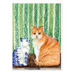Scampy con el azul cat-1.jpg de los delfts postal