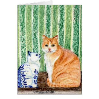 Scampy con el azul cat-1.jpg de los delfts tarjeta de felicitación