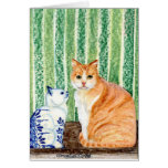 Scampy with delfts blue cat-1.jpg greeting card