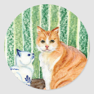 Scampy with delfts blue cat-1.jpg round stickers