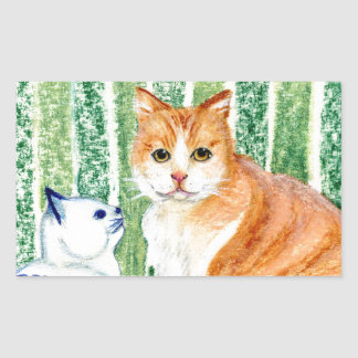 Scampy with delfts blue cat-1.jpg rectangular stickers